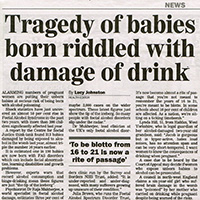 Foetal Alcohol Syndrome news story (The Sunday Express)